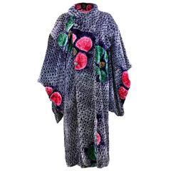 20s Rare Multi-Color Shibori Velvet Kimono