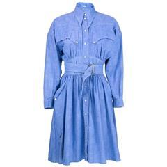 90s Thierry Mugler Blue Chambray Western Style Shirtwaist Dress