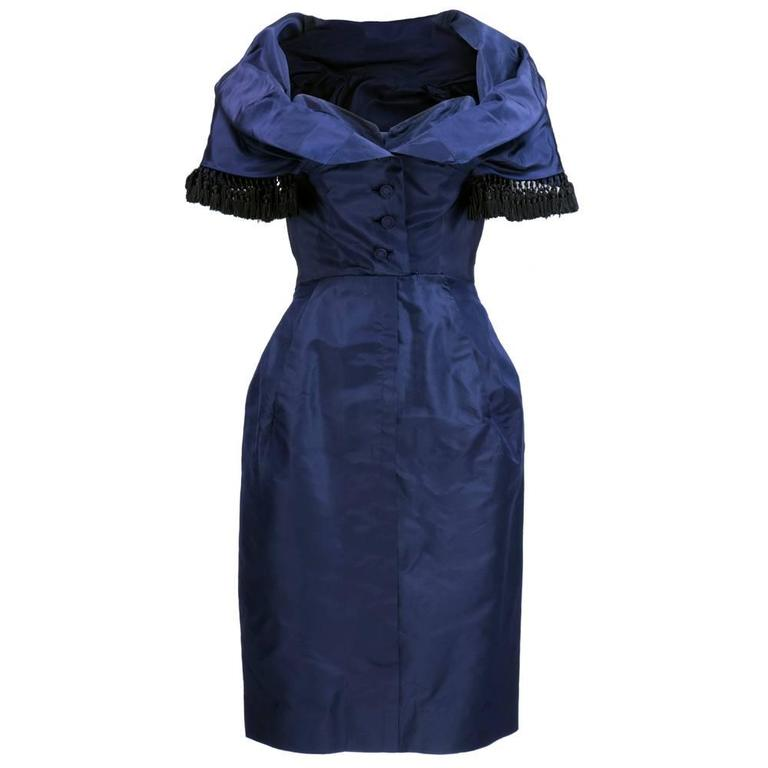 Late 50s Christian Dior - New York Midnight Blue Silk Taffeta Dress With Corsele 1
