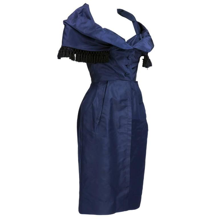Late 50s Christian Dior - New York Midnight Blue Silk Taffeta Dress With Corsele 2