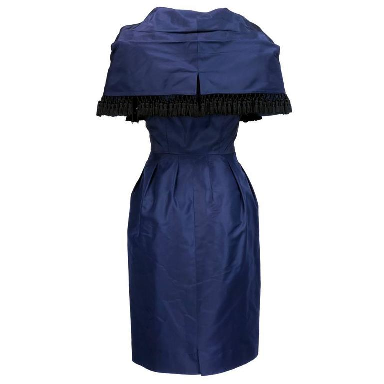 Late 50s Christian Dior - New York Midnight Blue Silk Taffeta Dress With Corsele 3
