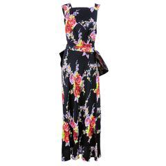 30s Black Silk Floral Bias Cut Gown with Bustle
