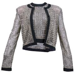 Exquisitely Tailored  2 Piece Evening Black and Silver Top Ensemble.