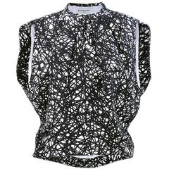 2000s Balenciaga Silk Blouse with Bold Squiggle Print