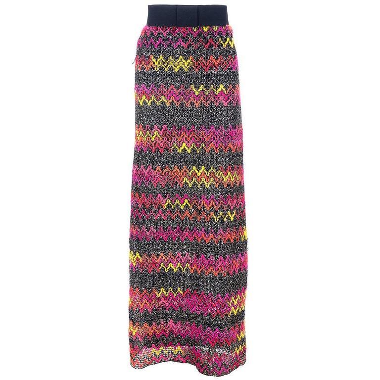 60s Pierre Cardin Zig Zag Knit Maxi Skirt 1