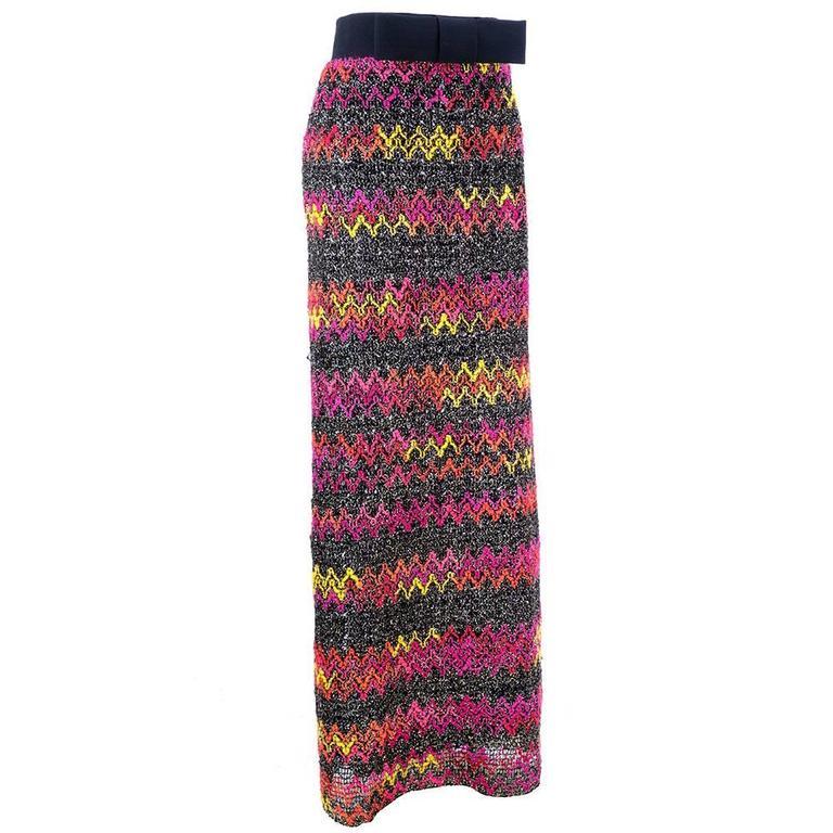 60s Pierre Cardin Zig Zag Knit Maxi Skirt 2