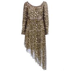 Wild 80s Asymmetrical Galanos Evening Dress in Animal Print Chiffon