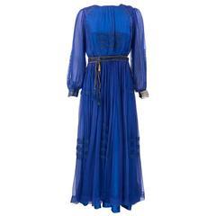 Edwardian Royal Bue Chiffon Reception Dress