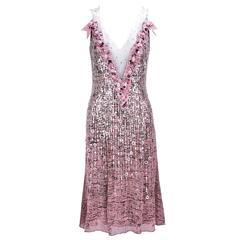 2000s Outstanding Carolina Herrera  Pink Heavily Embellished Red Carpet Dress