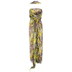 90s Bill Blass Animal Print Chiffon Goddess Gown