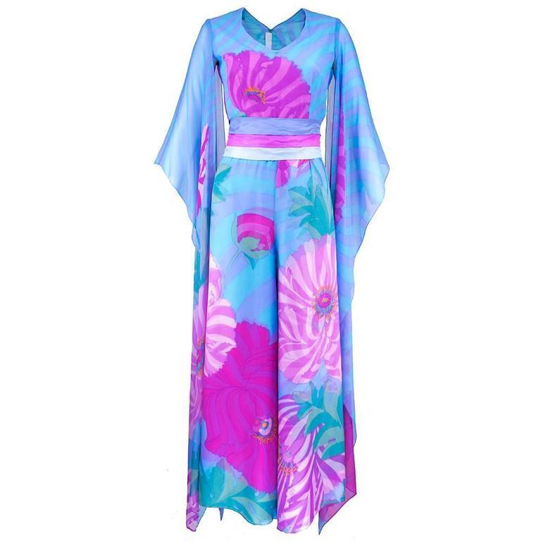70s Hanae Mori Pink and Blue Chiffon Kimono Style Jumpsuit 1