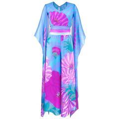 70s Hanae Mori Pink and Blue Chiffon Kimono Style Jumpsuit