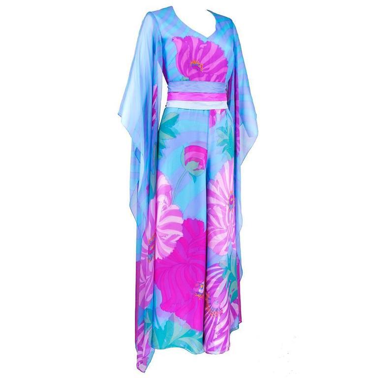 70s Hanae Mori Pink and Blue Chiffon Kimono Style Jumpsuit 2