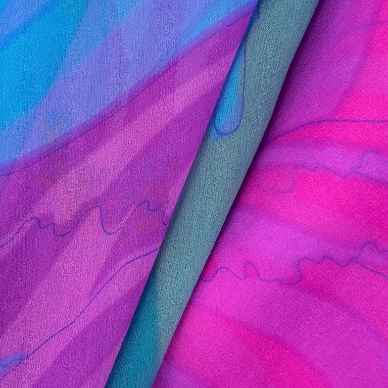 70s Hanae Mori Pink and Blue Chiffon Kimono Style Jumpsuit 6