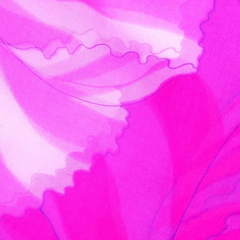 70s Hanae Mori Pink and Blue Chiffon Kimono Style Jumpsuit 7