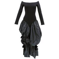 90s TARLAZZI Black Wool and Taffeta Avant Garde Jumpsuit