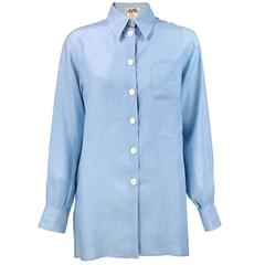 90s HERMES Pale Blue Linen Shirt