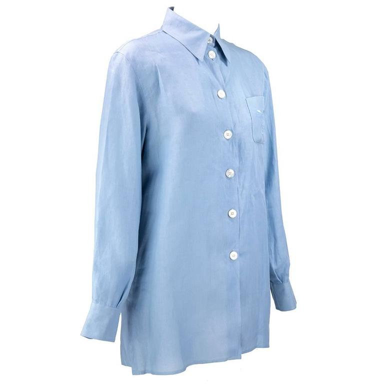 90s HERMES Pale Blue Linen Shirt at 1stdibs