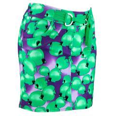 90s Versus Versace Mini Skirt with Green and Purple Fish Print