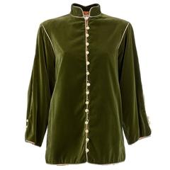 80s Saint Laurent Green Velvet Ethnic Style Jacket