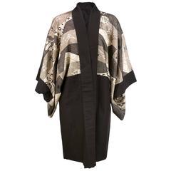 Unique Mid Century Baseball Themed Kimono