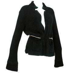 Chanel Black Cardigan with Chain
