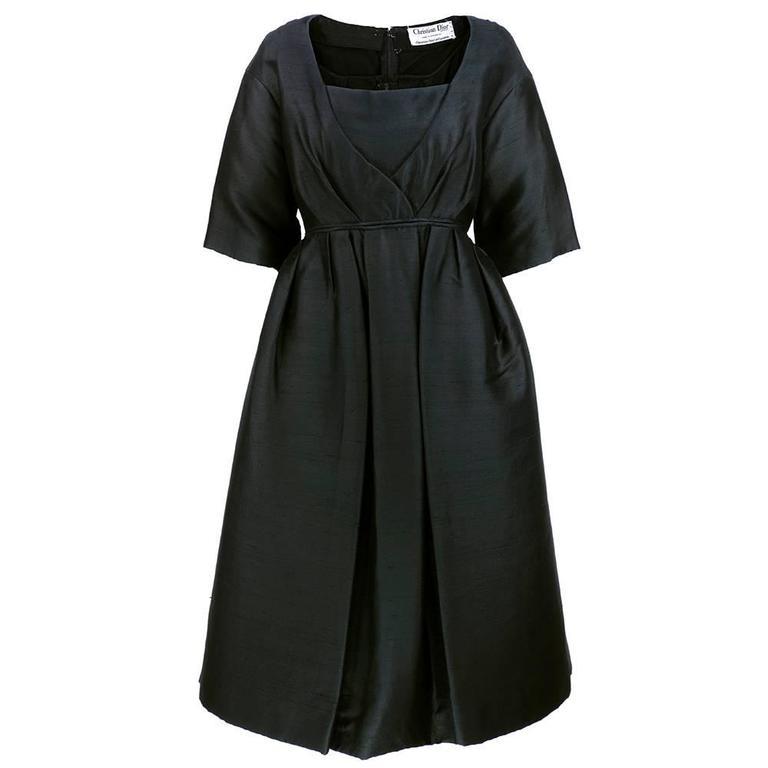 50s Christian Dior London Black Shantung Silk Cocktail Dress 1