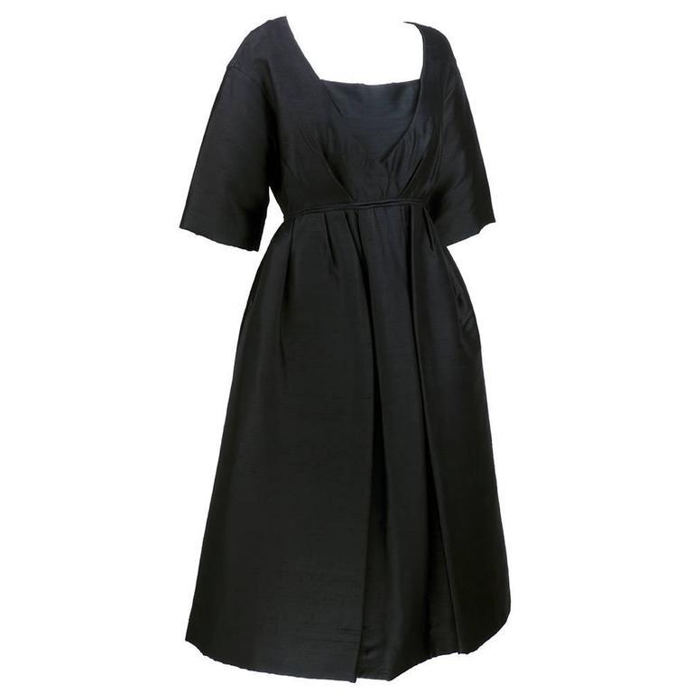 50s Christian Dior London Black Shantung Silk Cocktail Dress 2