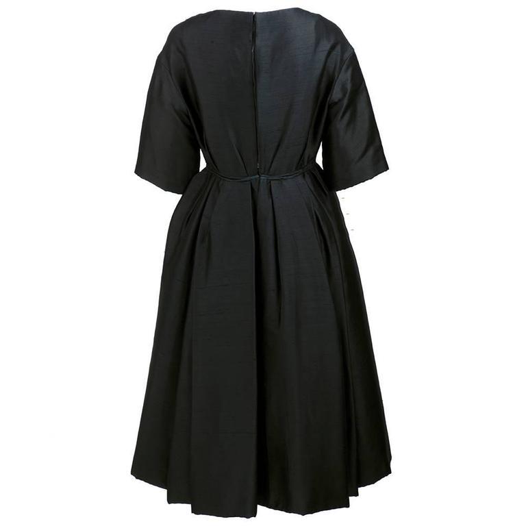 50s Christian Dior London Black Shantung Silk Cocktail Dress 3