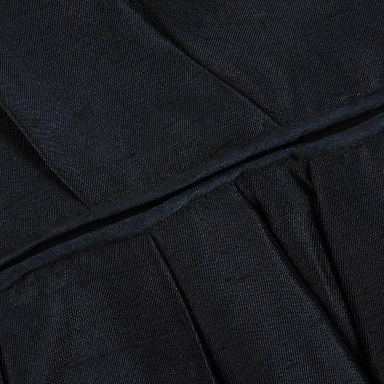 50s Christian Dior London Black Shantung Silk Cocktail Dress 5