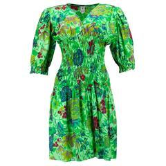 70s Ungaro Green Floral Cotton Smocked Summer Dress