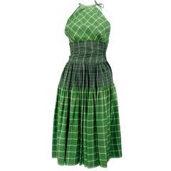 50s Bonnie Cashin Green Plaid Summer Dress