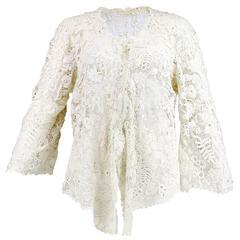 Edwardian Solid Hand Made White Irish Crochet Jacket