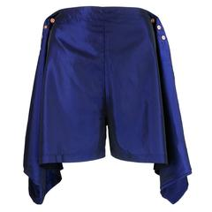 90s Jean Paul Gaultier Adjustable Iridescent Blue Shorts