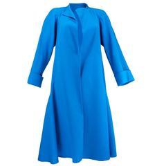 Pauline Trigere Blue Overcoat, 1980s