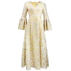 60s Lace with Iridescent Sequins Princess Gown