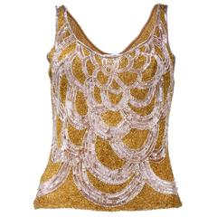90s Vivienne Tam Gold Sequin Cocktail Top.