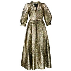 80s Pauline Trigere Gold Lame Matelasse  Gown