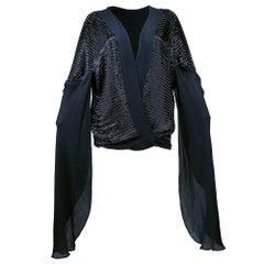 Heavy 1930s Black Chiffon Bugle Beaded Evening Jacket/Top
