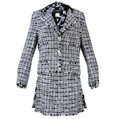 Chanel Nubby Tweed Suit in Black White and Grey with Floral Silk Lining