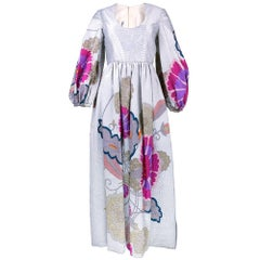 60s Marsal Silver Metallic Matelasse Gown with Asian Inspired Floral Pattern