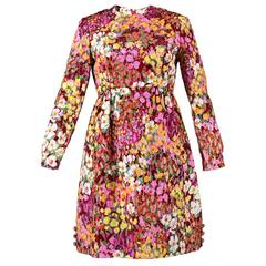60s Chester Weinberg Metallic Floral Matelasse Babydoll Dress