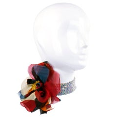 90s Dolce and Gabbana Rhinestone Choker with Organza Flower