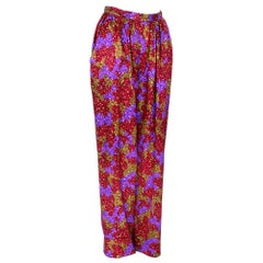 80s Saint Laurent Rive Gauche Silk High waisted Splatter Print Pants