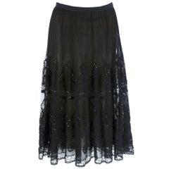 Oscar de la Renta Black Pleated Embellished Evening Skirt