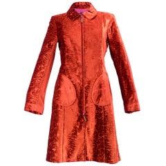 90s Christian Lacroix Red Embossed Velvet Coat