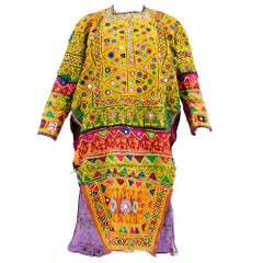 Multi-Color Patchwork Banjara Indian Tunic Embroidered and Inset with Mirrors
