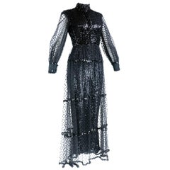 Crazy 1960s Sequin Jumpsuit with Tulle Overskirt