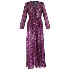 1970s Glam Magenta Sequin Pantsuit