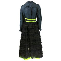 Roberto Capucci  Black and Green Evening Ensemble with Bell